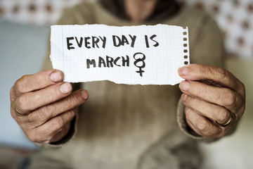 old woman and text every day is march 8