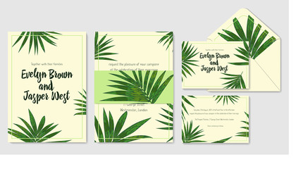Wedding invite, envelope, rsvp, holiday card. Design with Green Howea palm leaves on a beige background and frames in summer style. Vector