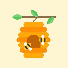 Flying bees and beehive on branch, flat icon