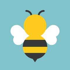 Cute bee icon, flat design vector