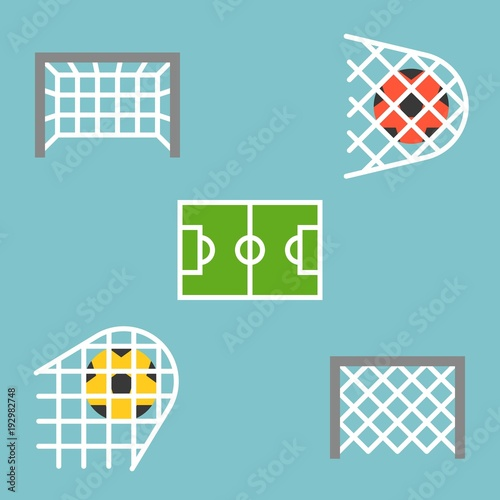 set of shooting football strike and soccer goal icon flat design