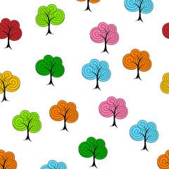 Decorative tree seamless pattern