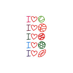 Doodle sports love icons