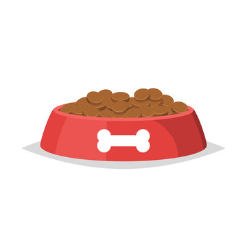 Dog food in bowl vector isolated