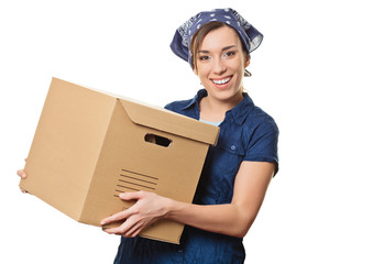 Young woman with boxes - move concept