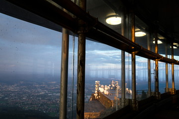 Romantic sunset seen through Jested tower construction, Liberec, Czech Republic