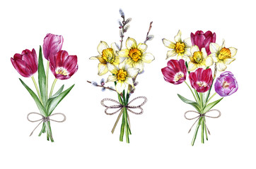 Hand drawn watercolor set of bouquets spring flowers