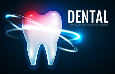 Tooth Treatment with Motion Lights. Stomatology Design Template. Dental Health Concept. Oral Care.