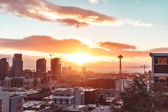 Beautiful sunset photo of Seattle, WA city skyline