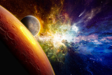 Two aliens planets in deep space, glowing mysterious galaxy, comet in space