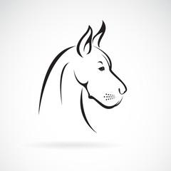 Obraz Vector of a dog head (Great Dane or German Mastiff or Danish Hound) on white background. Pet. Animal. Easy editable layered vector illustration. - fototapety do salonu