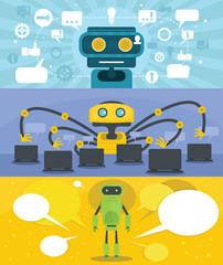 Chat robot banner concept set. Flat illustration of 3 chat robot vector banner horizontal concepts for web