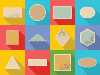 Postage stamp icons set. Flat illustration of 12 postage stamp vector icons for web