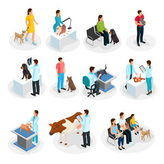 Isometric Veterinary Clinic Set