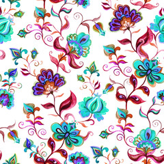 Hand crafted native motifs at light ground - seamless floral background with intricate flowers. Watercolor art
