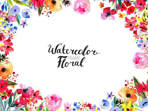 Watercolor Floral Background. Hand painted border of flowers. Good for invitations and greeting cards. Frame isolated on white and brush lettering. Rose, poppy and peony illustration Spring blossom