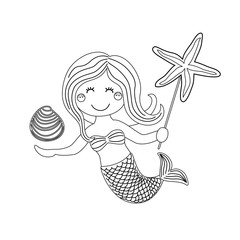 Cute childish hand drawn cartoon character of little mermaid with sea starfish, shell as coloring page