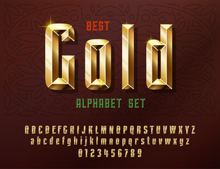 Stylish stylized golden and Glossy shining font with numbers, upper and lowercase letters.