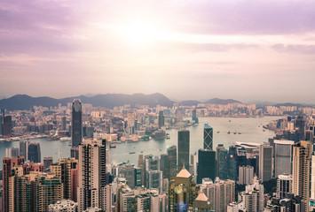 hongkong the city view business tower and condominium tower, beautiful landmark.