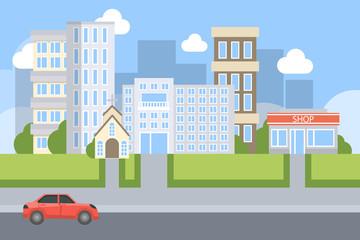 City street illustration.