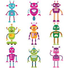 Robot characters, set of nine