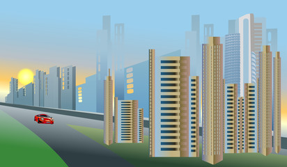 Morning in the city red auto vector illustration background
