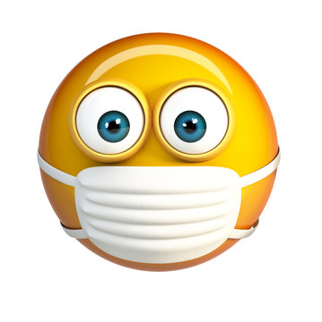 Emoji with Hygienic Mask. Surgical Mask Face Emoticon. 3d rendering isolated on white background.