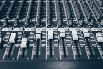 audio mixing console, shallow dept of field
