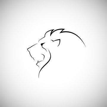 Lion head line style logo vector illustration