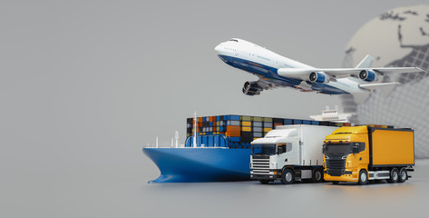Wall Mural - Plane trucks are flying towards the destination with the brightest. 3d rendering and illustration.