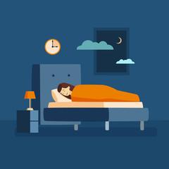 Woman sleep at night.