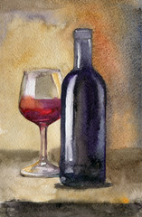 Bottle of wine with glass on dark background, still life watercolor illustration