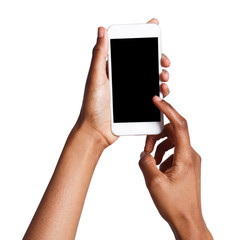 Female hands pointing on blank mobile phone screen