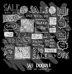 Sale doodle illustration wallpaper background line sketch style set on chalkboard eps10