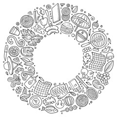 Line art vector hand drawn set of Picnic cartoon doodle objects