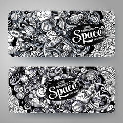 Cartoon graphics vector hand drawn doodles space horizontal banners