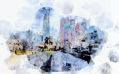 city life in watercolor style, Netherlands