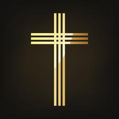Golden Christian cross. Vector illustration.