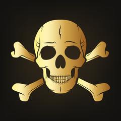 Gold skull with crossbones. Vector illustration