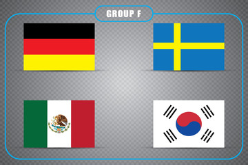 Football. Championship. Vector flags. Russia. Group F.