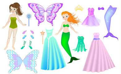 Game for girls paper doll. Dress up paper doll - Mermaid & Fairy. Clothing set collection. Body template