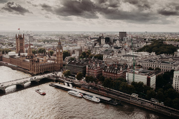 Beautiful view of London with its famous builduings: Big Ben, Palace of Westmisnter, Westmisnter Bridge under opened sky. Outdoor shot of capital of Great Britain.