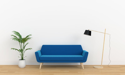 blue sofa and lamp in white room, 3D rendering