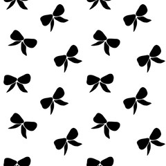 Vector seamless hand drawn pattern with bows. Ribbon decoration pattern for paper, textile, handmade decoration, scrap-booking, polygraphy, t-shirt, cards.