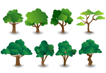 Set of trees in paper art style, flat-style vector illustration.