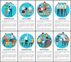 Working Task and Office Work Vector Illustration