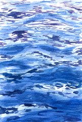 Watercolor blue water surface background.
