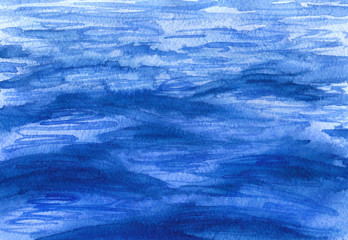 Watercolor blue waves surface background.