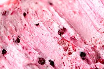 Strawberry ice cream texture. Summer food concept, copy space, top view. Sweet yogurt dessert or berries ice-cream background.
