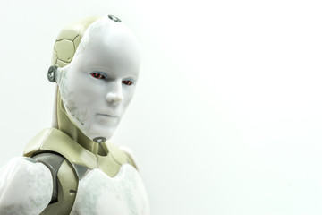 humanoid robot turn face for looking on you isolate background